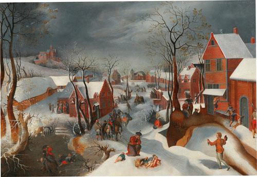 Jacob Grimmer y Gillis Mostaert.Paisaje con la matanza de los inocentes.1575-1580.Óleo sobre tabla.72x105cm.Colección privada en Italia.