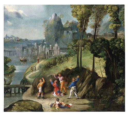 Dosso y Batista Dossi. La lapidación de San Esteban.1525. Museo Thyssen