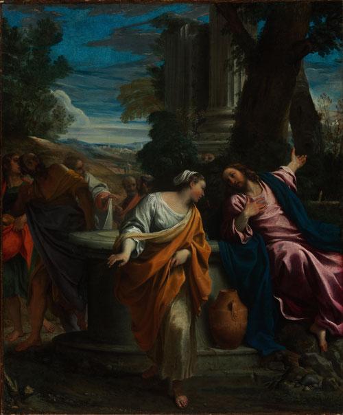 """Annibale Carracci.Cristo y la samaritana 1596. De esta obra se hicieron 6 grabados que muestran el éxito del autor.""""Soy yo el que habla contigo""""Juan 4,26..Son las palabras que Jesús le revela a la samaritana,separados por un cántaro,metáfora de sed d Dios"""