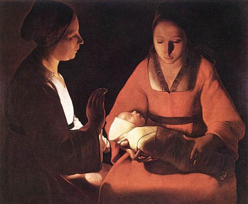 El recién nacido o Natividad1648.Georges La Tour.En el silencio de la noche 2 mujeres miran  al niño inmóviles y silenciosas el misterio viviente e inexplicable de la vida.Solemnidad y atmósfera irreal,la llama vacilante muestra la esencia divina del Niño