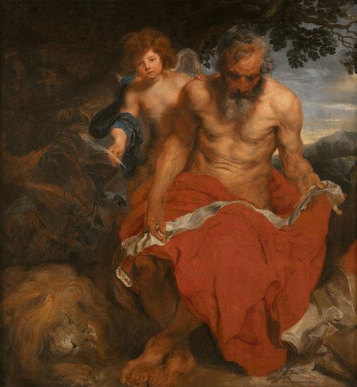 Van Dyck.San Jerónimo con un ángel,1618-20.Óleo sobre lienzo.168X134cm.Roterdam..Comprado en la almoneda de Rubens por FelipeIV, estuvo en la sacristía del Monasterio del Escorial, pero José Bonaparte lo sacó de España.Existe en Estocolmo otra versión.