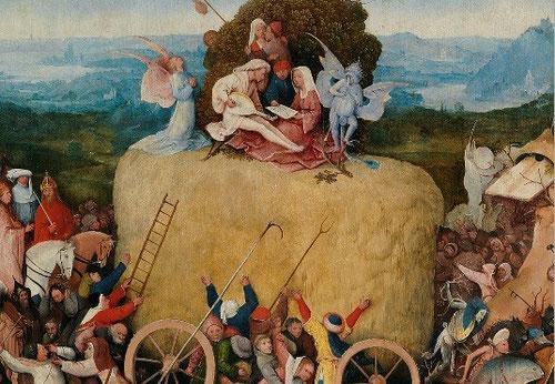 Sólo un ángel reza implorando a Cristo que lo observa todo desde arriba mostrando las llagas de la Redención del pecado.Las parejas se entregan al placer al son musical demoniaca.