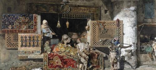 El vendedor de tapices 1870.Acuarela y guache sobre papel 59x85cm.Museo de Montserrat.Obra que le supuso un amplio reconocimiento.Su pasión por  los tapices y alfombras y el tratamiento descriptivo que le dió a estos tejidos,la celosía magistral-