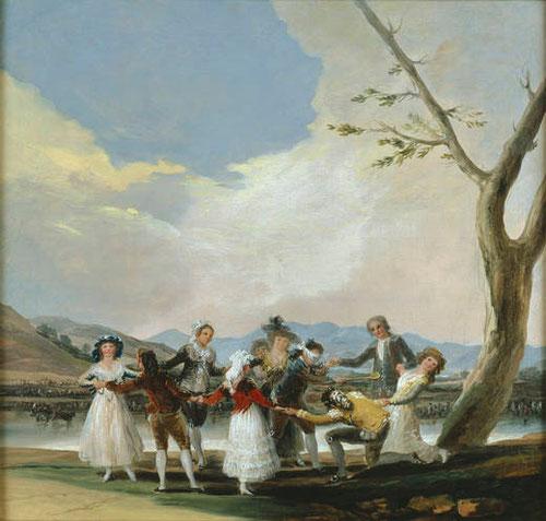 Goya.La gallina ciega.1787.Boceto para uno de los cartones para la serie de tapices destinados a decorar el dormitorio de las Infantas en el Pardo.