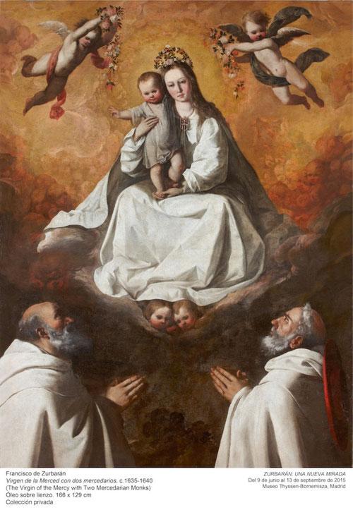 La Virgen de la Merced con dos mercedarios.166x129cmCol.privada.Perteneció a la col.de Luis Felipe de Orleans en París.San Ramon Nonato y Pedro Nolasco parecen los dos que dirigen la mirada apacible a la bellísima Virgen María envuelta en nubes doradas.
