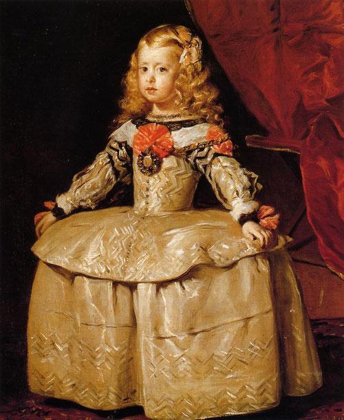 La infanta Margarita,Velázquez,1656,Kunsthistoriches Museum Viena. La niña nace en Julio 1651, cuando llega de Italia en los 9 años de vida se encarga de manera reiterativa a retratar a estos únicos vástagos.