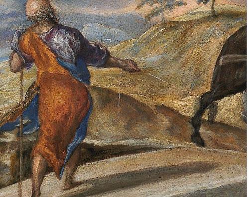 Magistral dinamismo y monumentalidad, pese a su reducido formato, diagonales entrecruzadas e interés por el paisaje como elemento expresivo.Cromatismo veneciano, es su obra maestra del periodo italiano.