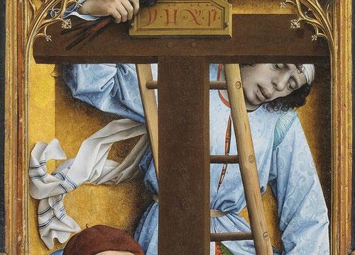 """El joven criado que mantiene los clavos sanguinolientos demasiado grandes viste con casulla adamascada azul impoluta.En la cruz, en caracteres griegos """"IHXP"""""""