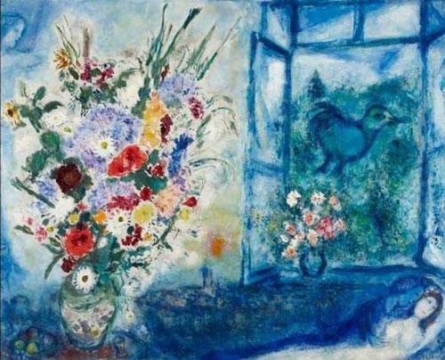 Marc Chagall, Florero delante de la ventana, 1959.Óleo sobre lienzo,118x148cm. Plenitud creativa de incofundible estilo e iconografía, poética atmósfera de tonos azules, espacios irreales, universo interior que exalta el amor y luminoso sentido cromático.