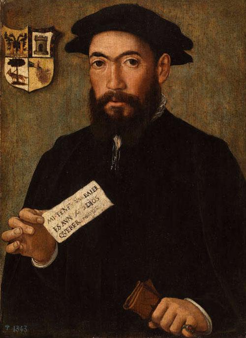 Anónimo flamenco, Un conquistador de indias.1501-1535.Legado Rafael G Palencia,1911.Pequeño retrato de 33x24cm!!