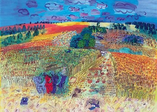 Raoul Dufy.Campo de trigo.1929.Óleo sobre lienzo.130x162cm.La exploración del concepto de obra de arte y cómo expresar la luz, jalonan el objetivo de este campo cultivado en una pequeña aldea de su Normandía natal, su patria interior.