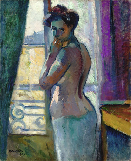 H.Manguin.Devant la fenêtre,rue Boursault 1904.Colección particular. Formatos ambiciosos,colores vigorosos y amplios contornos,armonía cuerpo y fondo, mientras que Matisse la pintaría caricaturesca.