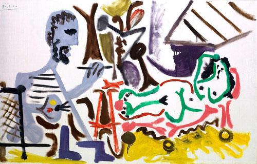 El pintor y la modelo,Mougins,abril 1963.Óleo sobre lienzo.71x114cm.Colección Novagalicia Banco.
