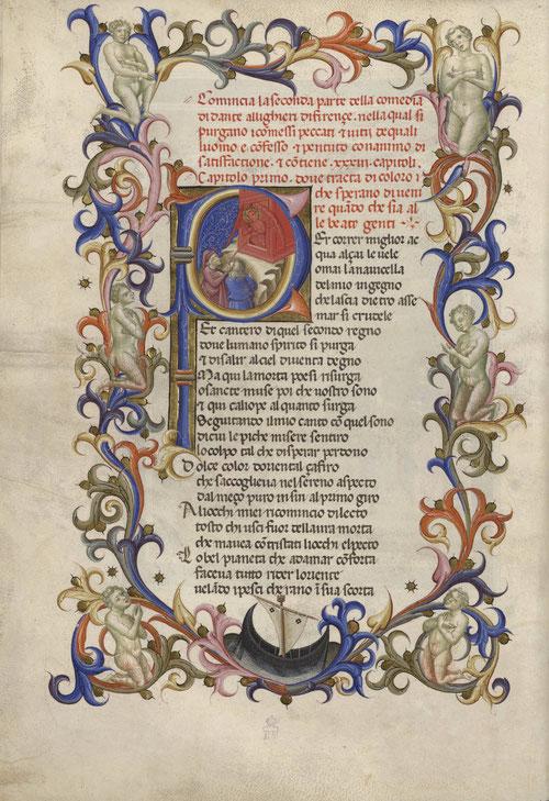 El manuscrito procede de la Biblioteca del Duque de Osuna. La P mayúscula representa la entrada al purgatorio con Dante y su guía Virgilio.