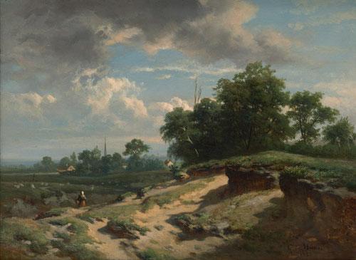 Carlos de Haes.Mujer en un paisaje con dunas cerca d un rebaño de ovejas.Siempre de viaje en Holanda o Bélgica, el uso de primeros planos oscuros con sombras rocosas y sensación de profundidad,disposición de nubes en el cielo.