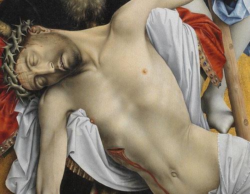 Las miradas recaen sobre el blanco cuerpo de Jesús, iluminado desde abajo,de su herida en el costado, mana sangre, que se está coagulando, y también agua . Juan 19,34. El paño de pureza,que es un velo de la Virgen,se ve como fluye la sangre sin mancharlo.