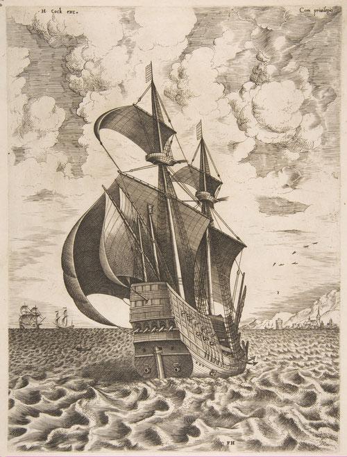 Pieter Brueguel el Viejo y Frans Huys.Buque de cuatro mástiles armado entrando en el puerto.1561-62.Aguafuerte y grabado,tinta sobre papel.28x21cm.Colección privada.