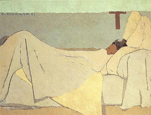 E.Vuillard,1891.Au lit (En la cama) 74x92cm. Encontró inspiración en su entorno familiar, cualquier asunto banal trasciende a lo religioso. Síntesis magistral del sueño como símbolo y despertar de la conciencia.Traduce idea de silencio interior.