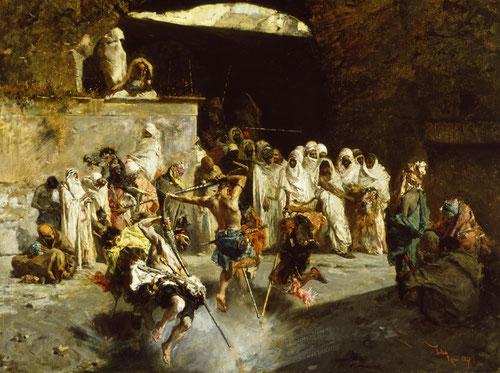 Fantasía árabe 1867.Óleo sobre lienzo,52x67cm.Baltimore Art Museum..Tres copias de esta obra participan ya de los circuitos comerciales.Pudiera ser la celabración en Tánger del Mulud,nacimiento del profeta.