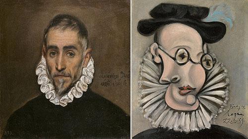 El vínculo sarcástico del procedimiento cubista de PICASSO daba ocasión a la distorsión del rostro como este retrato de Jaume Sabartés con gorguera y sombrero de 1939 con ciertas referencias al anciano retratado por el Greco 3 siglos antes.
