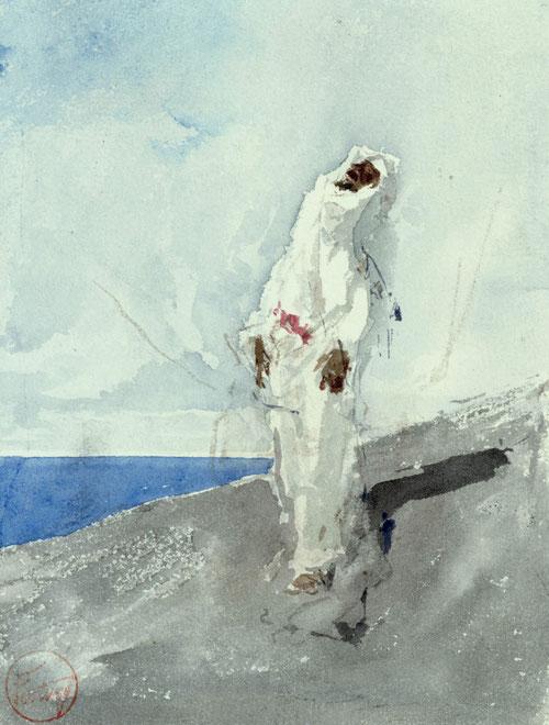 Cubierto por una chilaba blanca el personaje desnudo de detalles clama al cielo su propia oración extasiado a punto de levitar. Acuarela ejecutada con simplicidad de recursos, deja ver el ductus del artista, de aparente lectura rápida.Sobrecoge!