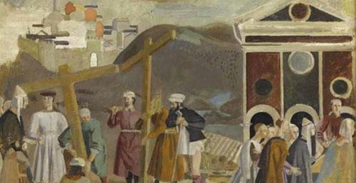 Balthus. Copia de Piero della Francesca.La leyenda de la Santa Cruz.Óleo sobre madera. Musée D´Orsay.Paris. Los artistas vuenven la mirada hacia el pasado del arte centrado sobre todo en la figura humana.