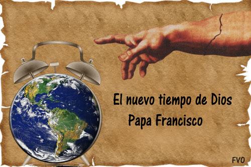 """Diseño gráfico """"El nuevo tiempo de Dios: Papa Francisco"""" Imagen creativa  de F.V.O que sintetiza el nuevo tiempo para la Iglesia con el primer pontífice hispanoamericano.Esta es la belleza de las nuevas tecnologías al servicio del anuncio de Dios."""