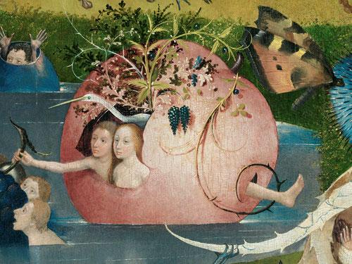 Detalle del Jardín de las Delicias.Formas vegetales fantásticas,plantas y frutas a mayor y menor escala,parejas de hombres y mujeres con fuerte carga erótica donde reina una aparente confusión.