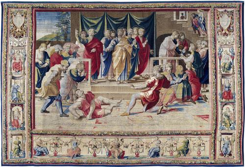 LA MUERTE DE ANANÍAS. Pedro descubre el engaño de Ananías y su esposa Safira.