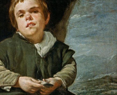 Velázquez.Francisco Lezcano, el niño de Vallecas 1635-40.Intensa mirada entre desafiante y melancólica con una austera construcción espacial, consigue imágenes veraces y realistas.