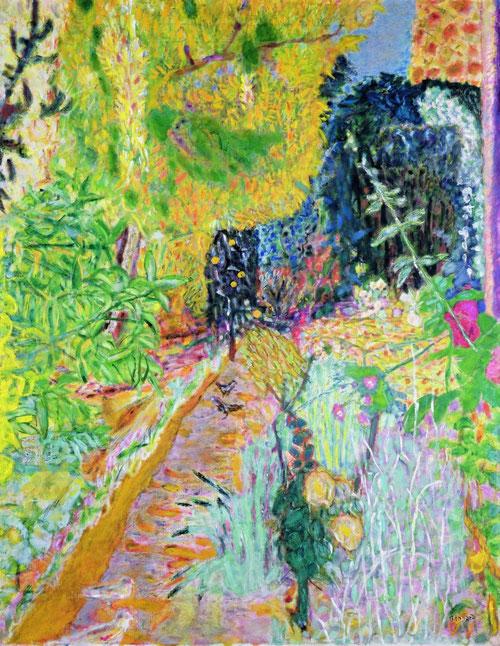 El jardín 1936/38. Un cromatismo impactante de azules y verdes para una escena de un mundo feliz que transmite paz y serenidad.