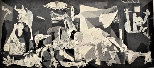 El Guernica 1937.Óleo sobre lienzo. 349cmx776cm. Museo Nacional Reina Sofía.La Legión Cóndor nazi bombardeó Guernica la tarde del 26 de Abril de 1937,era lunes, el dia de mercado tradicional. Se trata de un conjunto imponente de constantes humanas.