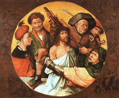 Ieronimus Bosch, El Bosco (1450-1516).Cristo coronado de espinas.Óleo sobre tabla 157x194cm.Monasterio del Escorial. La belleza frente a lo grotesco, la serenidad frente al tumulto, la Verdad/mentira..es Cristo quien nos mira..¿A qué lado estas tu?