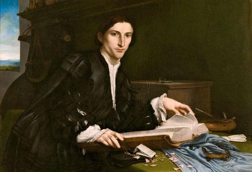 Retrato de joven 1530.Óleo sobre lienzo.98x111cm.Galeria de la Academia de Venecia.Retrato ambicioso y fascinante tanto por la actitud como por la complejidad del escenario.Joven de 25 años miembre de la familia Rovero,postura inédita acodado en una mesa.