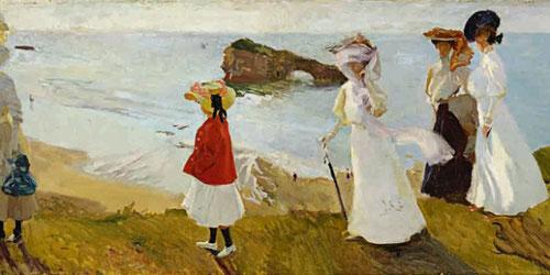 Paseo del faro, Biarritz.1906.Óleo sobre lienzo.68x188cm.Museum of Fine Arts,Boston.Toda una belleza plástica de los diferentes tonos del mar brumoso...