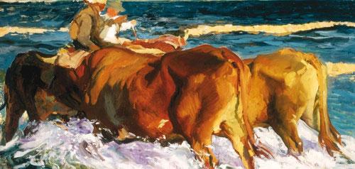 La carreta de bueyes pintado en 1913 para su mecenas y magnate Ryan, presenta unos contrastes lumínicos del sol de atardecer.