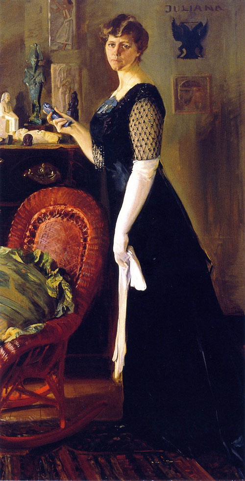 Juliana Armour Ferguson.1909.Óleo sobre lienzo.200x104cm.Smith College Museum of Art,Northampton,Massachussets, donación de Juliana Painter.La figura femenina, solitaria, ante su colección antigua, símbolo de modernidad y porte elegante.