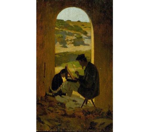Giuseppe Abbati, El pintor Stanislas Pointeau. 1862.Óleo sobre tabla.35x20cm. La revolución de los machiaioli encuentra su razón de ser en la pintura al aire libre, principal seña de identidad.