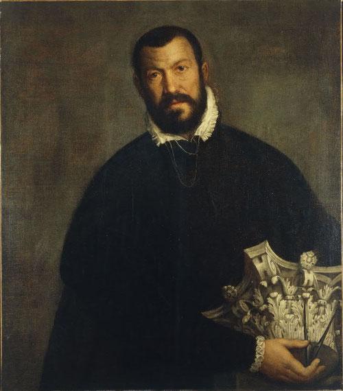 Paolo Veronés. Retrato de Sacmozzi hacia 1585. Denver Art Museum. Las nuevas teorías de arquitectura dieron luz en Venecia y se expandieron por Europa.El clásico De Arquitechturta de Vitrubio o Palladio.