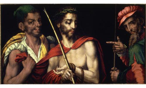 """Según elevangelio de San Juan 19,1 Cristo fue presentado ante la multitud tras haber sido flagelado y coronado,Pilatos le señaló mientras decía """"Ecce Homo"""",mientras Jesús aparece burlado por un berdugo.Tabla de nogal de la Academia de B.A San Fernando."""
