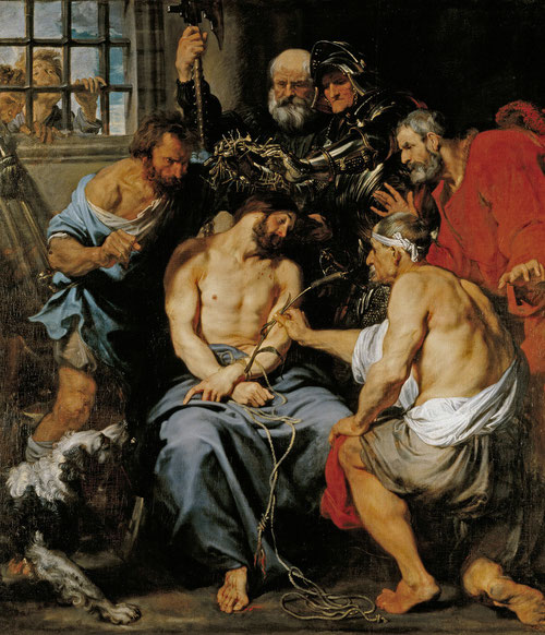 Van Dyck, La coronación de espinas,1618-20. Museo del Prado, Madrid. Comprado por deseo expreso de Felipe IV, pasó al Escorial y de allí a la Granja..Narrado por Mt 27, escenifica el escarnio que sufre Cristo mientras le colocan la corona de espinas.