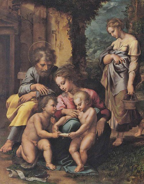 """La Sagrada Familia Spínola, Giulio Romano. 1517-20.Óleo sobre tabla.77x66cm. Inscrito en la filacteria """"ECCE AGNUS DEI"""", Paul Getty Museum. Los Angeles."""