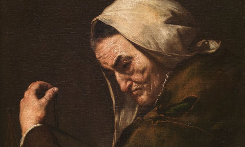 José Ribera.Vieja usurera 1638.Madrid Museo del Prado. Pintores como Ribera,Rembrandt y Lievens son maestros europeos que han llegado lejos en el uso de la pintura muy empastada para reproducir texturas.