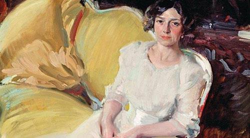 Clotilde sentada en un sofá.Detalle. 1910.180x110cm.Museo Sorolla.Madrid. Elegancia sin artificio. Composición diagonal sencillamente humana.Toda su obra estuvo entretejida por la devoción a su familia.