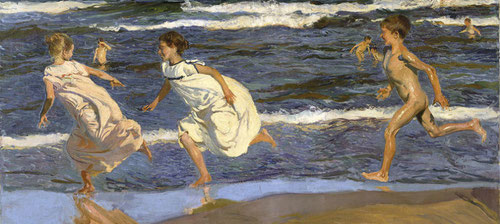 Sorolla.Corriendo por la playa,1908.Óleo sobre lienzo.90x166cm.Museo de Bellas Artes de Asturias, Oviedo,Colección Pedro Masaveu.