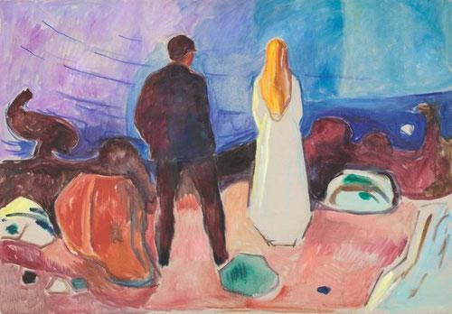 1981 pinta Dos seres humanos solitarios,cargada de tonos y matices,formó parte de ocho aguafuertes.Aunque simplifica la escena al máximo,implica al espectador,poniéndolos de espaldas y meditando el paisaje,hace que el espectador le inunde la  naturaleza.