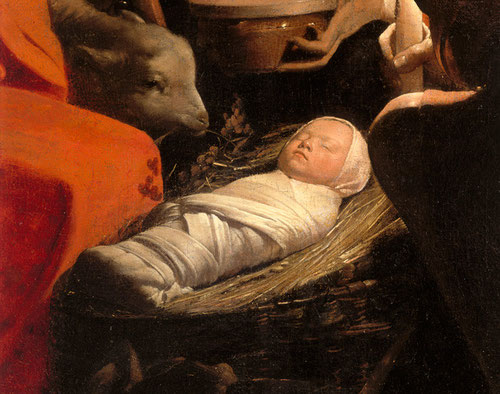 """Detalle de La Adoración de los pastores"""" Georges de la Tour.1644. Simplicidad en la composición de belleza rara y cautivadora que muestra """"el misterio viviente"""""""