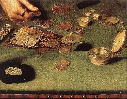 Fiel imagen de la actividad económica del Renacimiento y el surgimiento de una nueva profesión relacionada con el mundo de las finanzas. Flandes centro comercial y manufacturero.El simbolismo como fuente de interpretación satírica y moralizante.