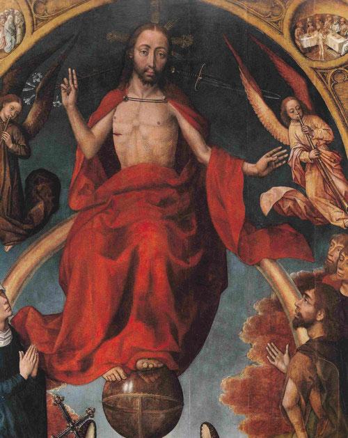 Van der Stock 1420-95 fue probablemente colaborados de Roger van der Weyden y guarda una relación estrecha con la del Prado..Cristo sedente sobre la esfera con la espada y lirios a los lados,reado por un marco arquitectónico de arco ojival.