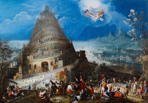 La Torre de Babel de Marten van Valckenborch y Hendrick van Cleve.Hacia 1580.Óleo sobre lienzo 53x76cm. La meticulosa perfección paisajista y su precisión técnica permite al espectador dirigirse hasta el punto de fuga del horizonte.